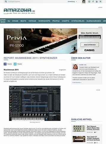 Amazona.de Report: Musikmesse 2011 / Synthesizer