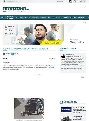 Amazona.de Report: Musikmesse 2011 / Studio Teil 2