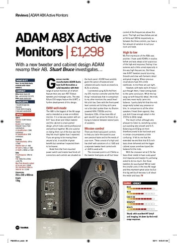 Future Music ADAM A8X Active Monitors