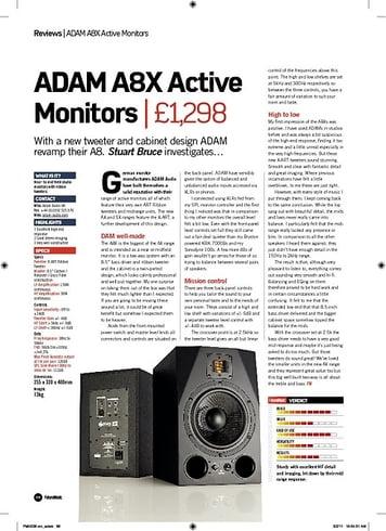 Future Music ADAM A8X Active Monitors