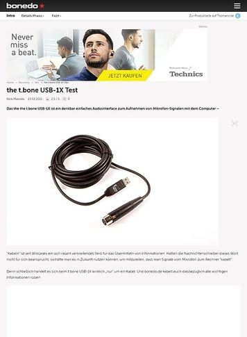 Bonedo.de Preiswert Mirkofonsignale zum Computer kabeln! * the t.bone USB-1X