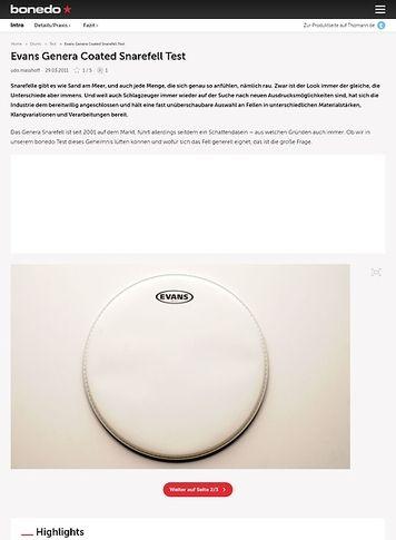 Bonedo.de Evans Genera Coated Snarefell