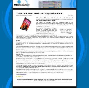 MusicRadar.com Toontrack The Classic EZX Expansion Pack
