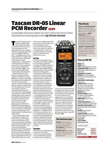 Guitarist Tascam DR-05 Linear PCM Recorder
