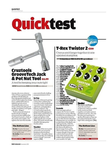 Guitarist Cruztools GrooveTech Jack and Pot Nut Tool