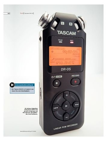 Sound & Recording Tascam DR-05 – Handy Recorder