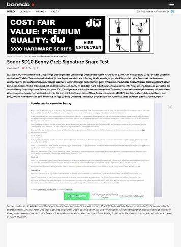 Bonedo.de Sonor SD10 Benny Greb Signature Snare