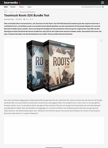 Bonedo.de Toontrack Roots SDX Bundle