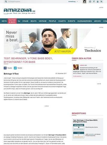 Amazona.de Test: Behringer, V-Tone Bass BDI21, Effektgerät für Bass