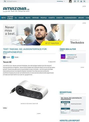 Amazona.de Test: Tascam, iXZ, Audiointerface für iPad/iPhone/iPod