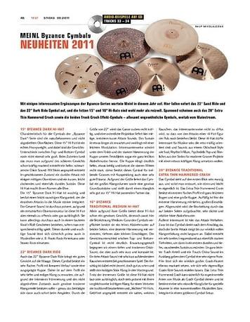 Sticks Meinl Byzance Cymbals Neuheiten 2011