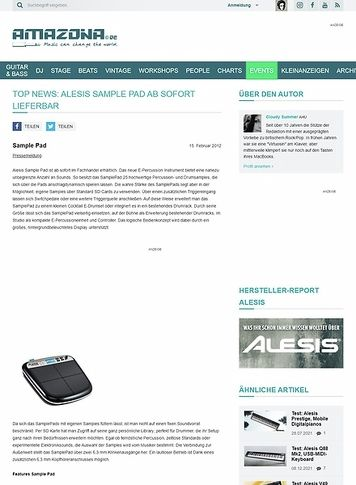 Amazona.de Top News: ALESIS Sample Pad ab sofort lieferbar