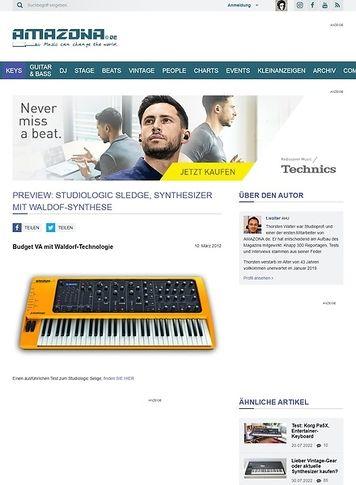 Amazona.de Preview: Studiologic Sledge, Synthesizer mit Waldof-Synthese
