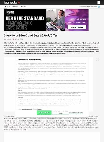 Bonedo.de Shure Beta 98A/C und Beta 98AMP/C