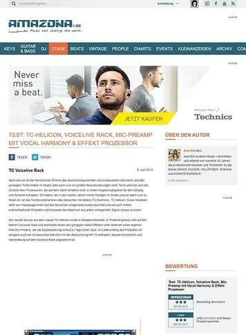 Amazona.de Test: TC-Helicon, Voicelive Rack, Mic-Preamp mit Vocal Harmony & Effekt Prozessor