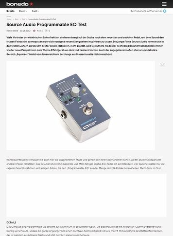 Bonedo.de Source Audio Programmable EQ