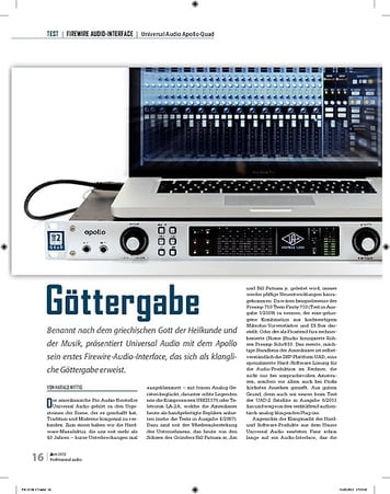 Professional Audio Göttergabe: Universal Audio Apollo Quad