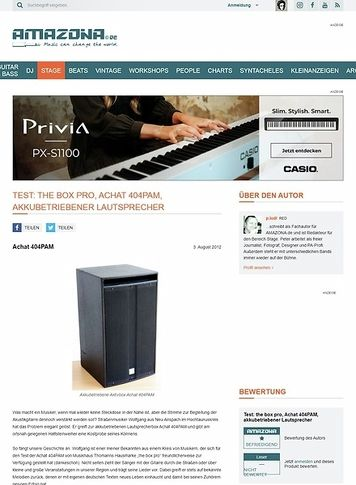 Amazona.de Test: the box pro, Achat 404PAM, akkubetriebener Lautsprecher