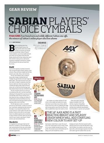 Rhythm SABIAN PLAYERS' CHOICE CYMBALS