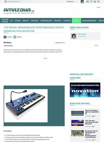 Amazona.de Top News: Brandneuer Performance-Synth MiniNova von Novation