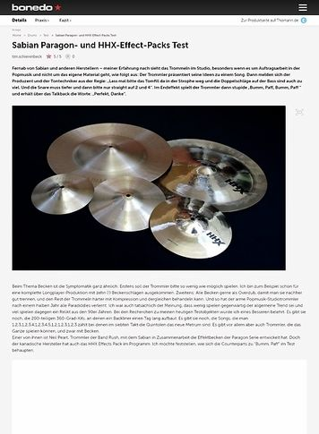 Bonedo.de Sabian Paragon- und HHX-Effect-Packs