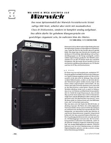 Gitarre & Bass Warwick WA 600s & WCA 410/WCA 115, Bass-Anlage