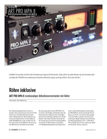 Sound & Recording ART Pro MPA II: 2-Kanal-Preamp mit Röhre