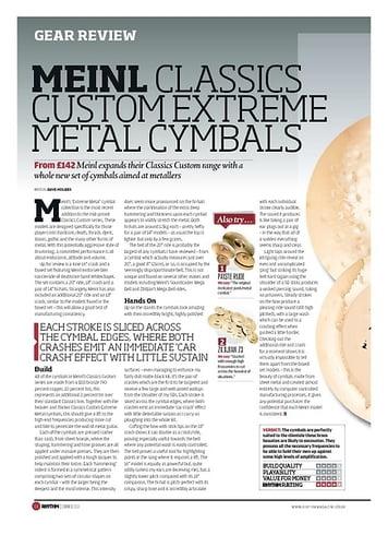 Rhythm MEINL CLASSICS CUSTOM EXTREME METAL CYMBALS