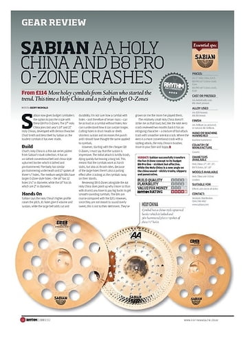 Rhythm SABIAN AA HOLY CHINA AND B8 PRO O ZONE CRASHES