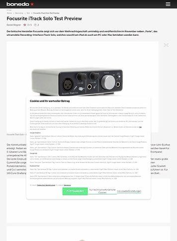 Bonedo.de Test Preview: Focusrite iTrack Solo