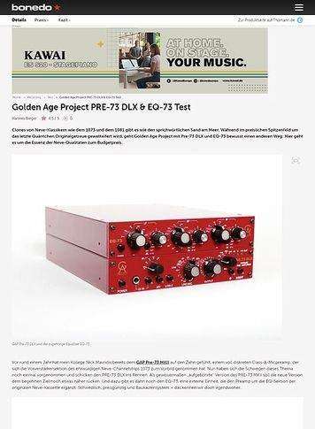 Bonedo.de Golden Age Project PRE-73 DLX & EQ-73 Test