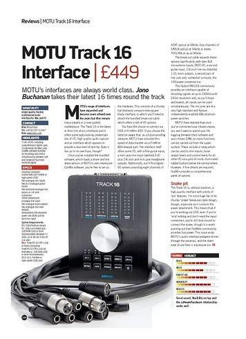 Future Music MOTU Track 16 Interface