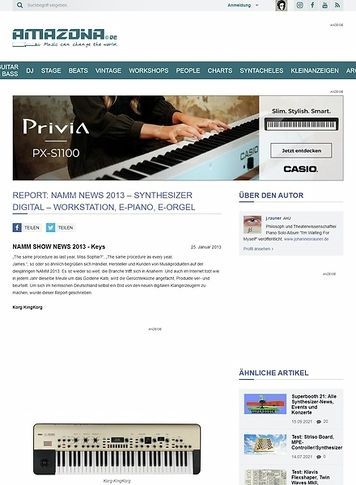 Amazona.de Report: Namm News 2013 - Synthesizer Digital - Workstation, E-Piano, E-Orgel