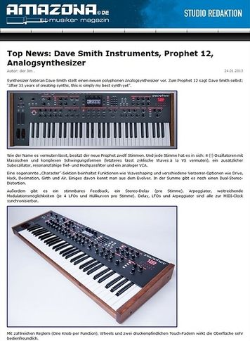 Amazona.de Top News: Dave Smith Instruments, Prophet 12, Analogsynthesizer