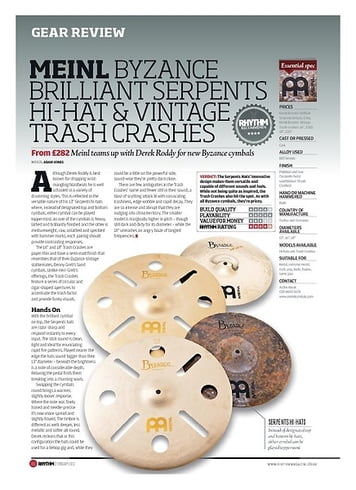 Rhythm MEINL BYZANCE BRILLIANT SERPENTS HI-HAT AND VINTAGE TRASH CRASHES