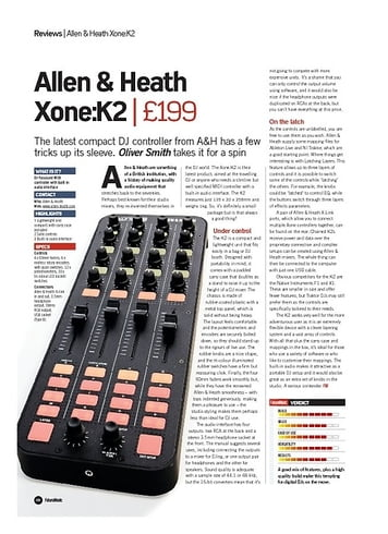 Future Music Allen and Heath Xone:K2
