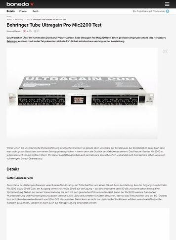 Bonedo.de Behringer Tube Ultragain Pro Mic2200 Test