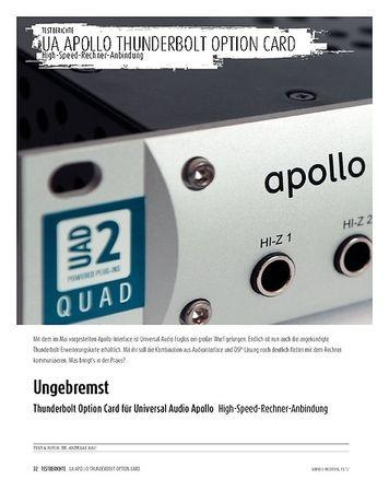 Sound & Recording Thunderbolt Option Card für Universal Audio Apollo - High-Speed-Rechner-Anbindung