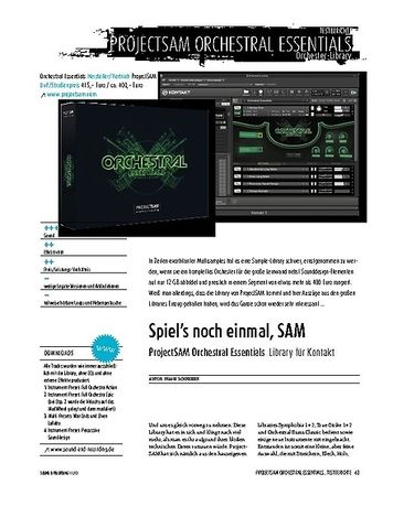 Sound & Recording ProjectSAM Orchestral Essentials − Sample-Instrument für NI Kontakt (Player)