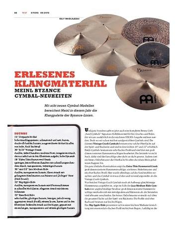 Sticks Meinl Byzance Cymbal-Neuheiten 2012