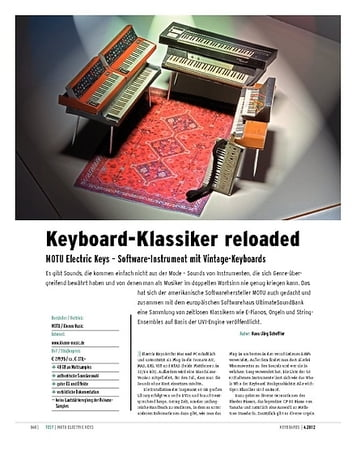 Keyboards MOTU Electric Keys – Software-Instrument mit Vintage-Keyboards
