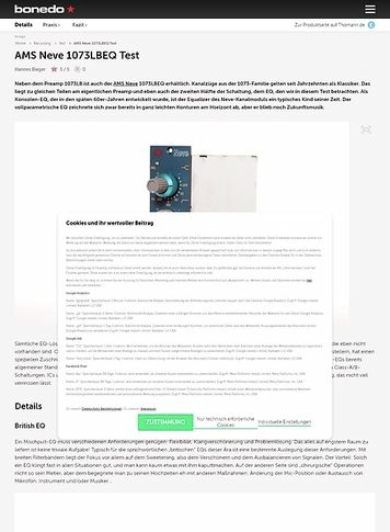 Bonedo.de AMS Neve 1073LBEQ Test