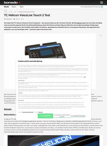 Bonedo.de TC Helicon VoiceLive Touch 2 Test