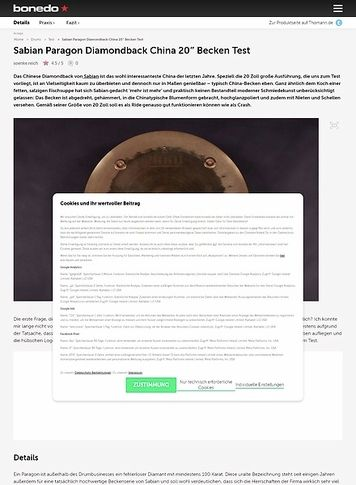 Bonedo.de Sabian Paragon Diamondback China 20