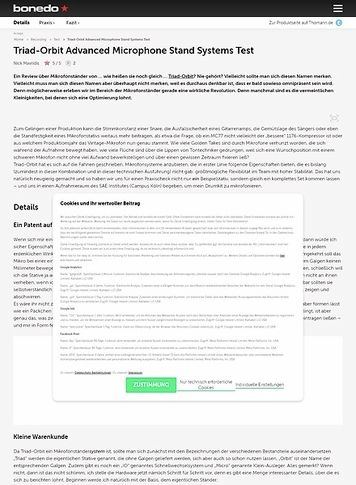 Bonedo.de Triad-Orbit Advanced Microphone Stand Systems Test