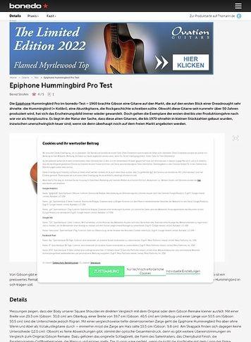 Bonedo.de Epiphone Hummingbird Pro Test