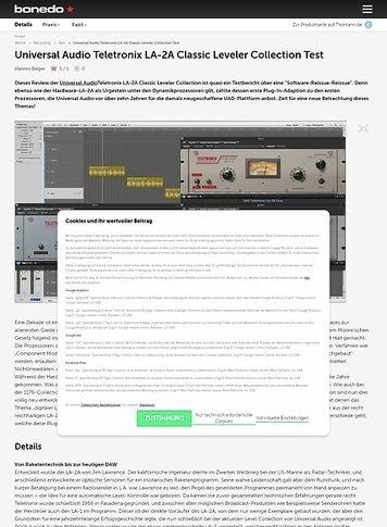 Bonedo.de Universal Audio Teletronix LA-2A Classic Leveler Collection Test