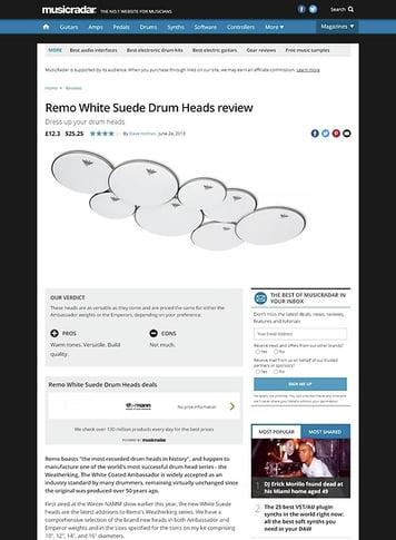 MusicRadar.com Remo White Suede Drum Heads