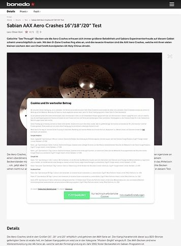 Bonedo.de Sabian Aero Crashes Test