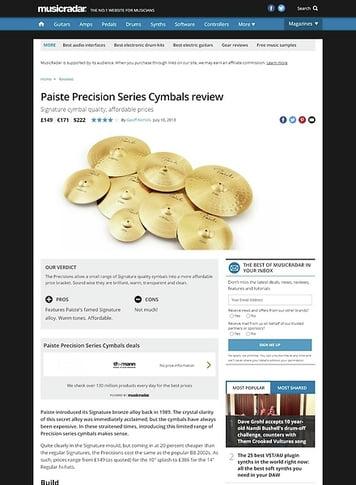 MusicRadar.com Paiste Precision Series Cymbals